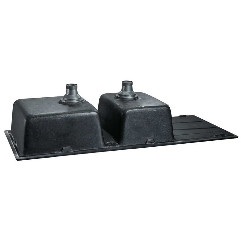 Cefito 1160 x 500mm Granite Stone Double Sink - Black - Cefito