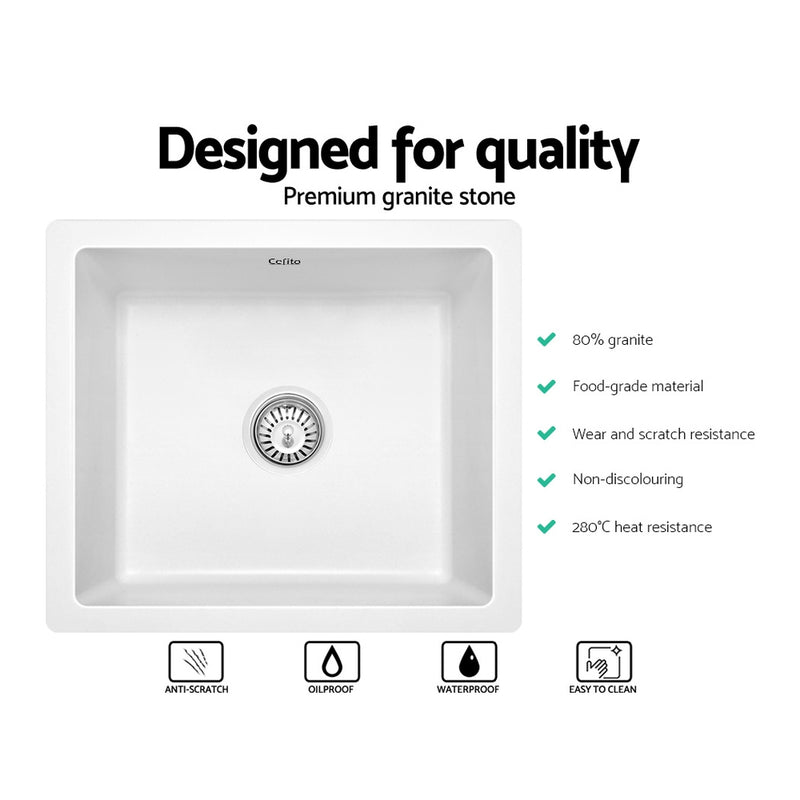 Cefito Granite Stone Kitchen Laundry Sink Bowl Top or Under mount 460x410mm White - Cefito