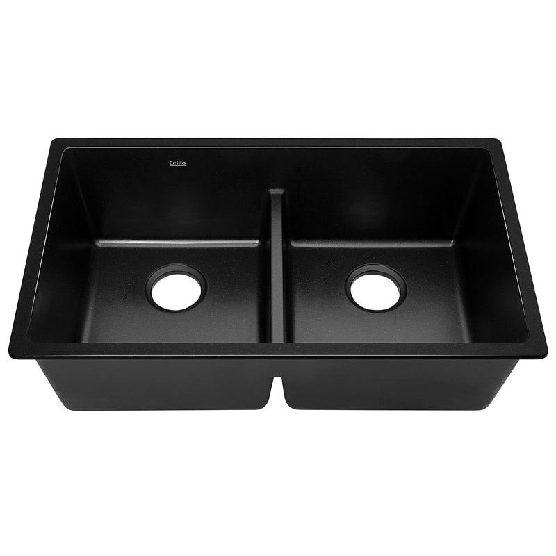 Cefito Stone Granite Kitchen Sink Double Bowl Top Undermount 790x460mm Black - Cefito