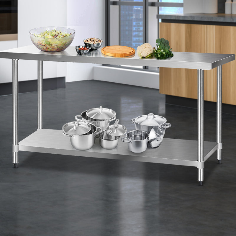 Cefito 1829 x 610mm Commercial Stainless Steel Kitchen Bench - Cefito