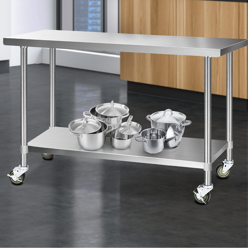 Cefito 304 Stainless Steel Kitchen Benches Work Bench Food Prep Table with Wheels 1524MM x 610MM - Cefito