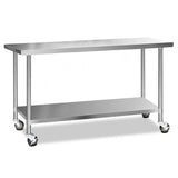 Cefito 304 Stainless Steel Kitchen Benches Work Bench Food Prep Table with Wheels 1829MM x 610MM - Cefito