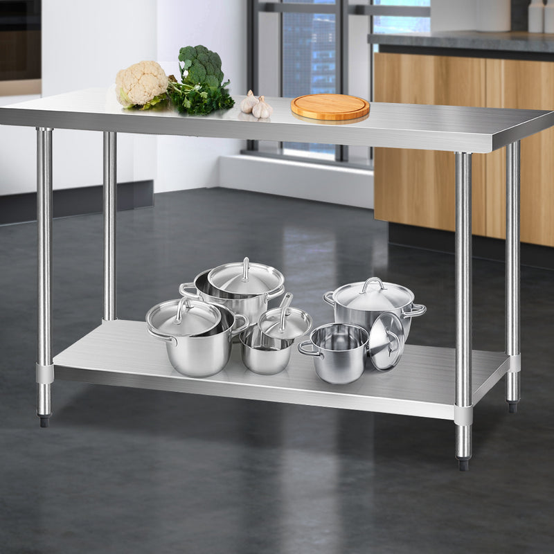 Cefito 610 x 1524mm Commercial Stainless Steel Kitchen Bench - Cefito