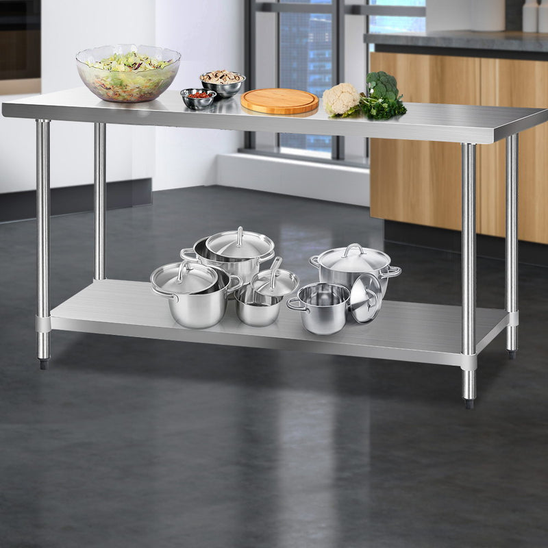 Cefito 610 x 1829mm Commercial Stainless Steel Kitchen Bench - Cefito
