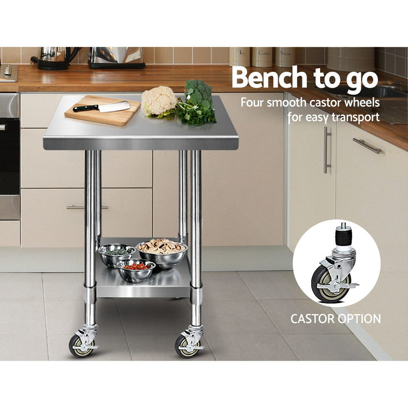 Cefito 762 x 762mm Commercial Stainless Steel Kitchen Bench with 4pcs Castor Wheels - Cefito