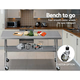 Cefito 1829 x 762mm Commercial Stainless Steel Kitchen Bench with 4pcs Castor Wheels - Cefito