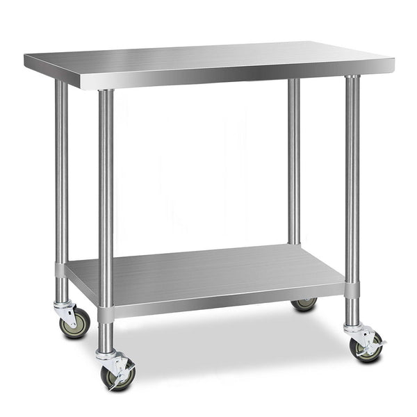 Cefito 430 Stainless Steel Kitchen Benches Work Bench Food Prep Table with Wheels 1219MM x 610MM - Cefito