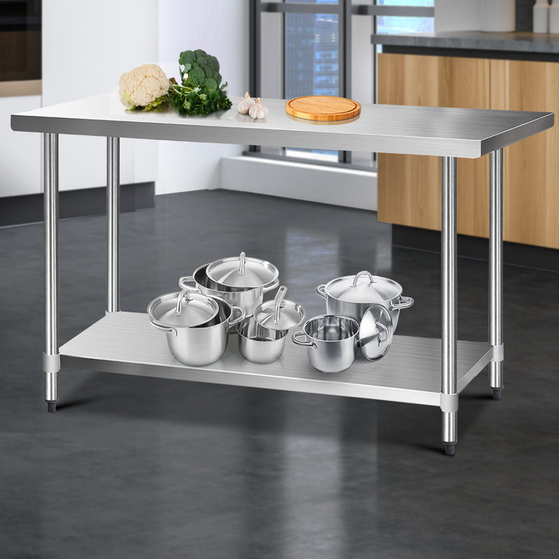 Cefito 430 Stainless Steel Kitchen Benches Work Bench Food Prep Table with Wheels 1524MM x 610MM - Cefito