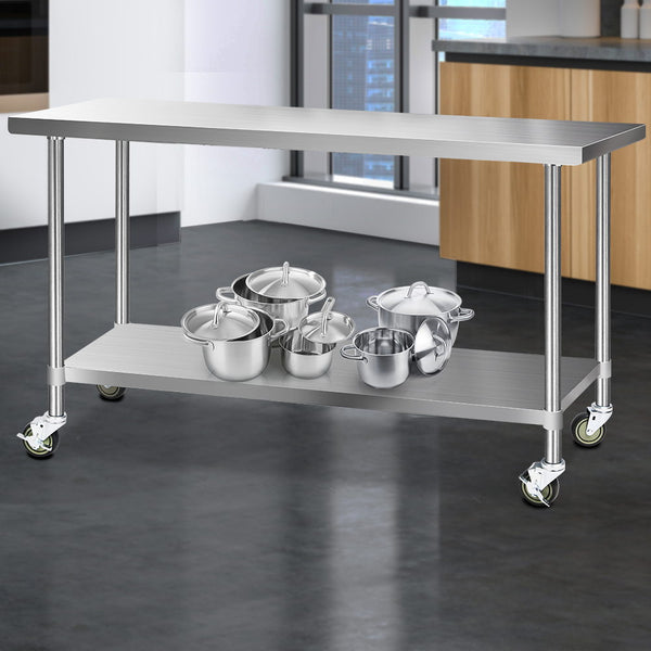 Cefito 430 Stainless Steel Kitchen Benches Work Bench Food Prep Table with Wheels 1829MM x 610MM - Cefito