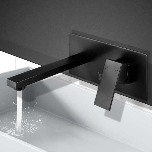Cefito WELS Bathroom Tap Wall Square Black Basin Mixer Taps Vanity Brass Faucet - Cefito