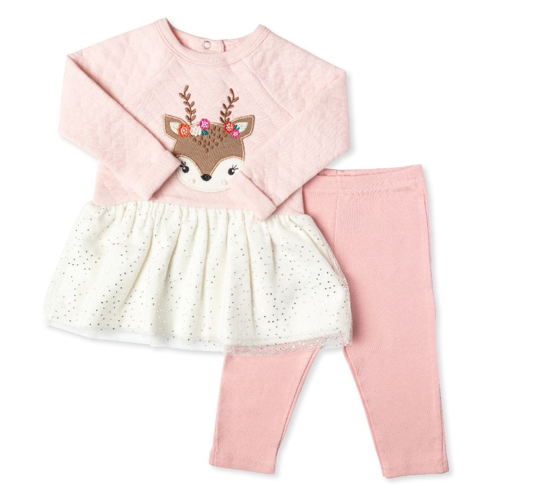 2pc Quilted Deer Dress W/ Leggings