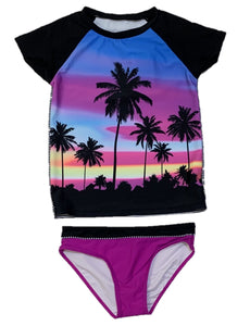 2pc Palm Tree Rashguard Swimsuit