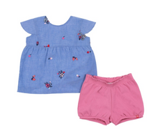 Load image into Gallery viewer, Nano 2pc Embroidered Floral Top & Short Set