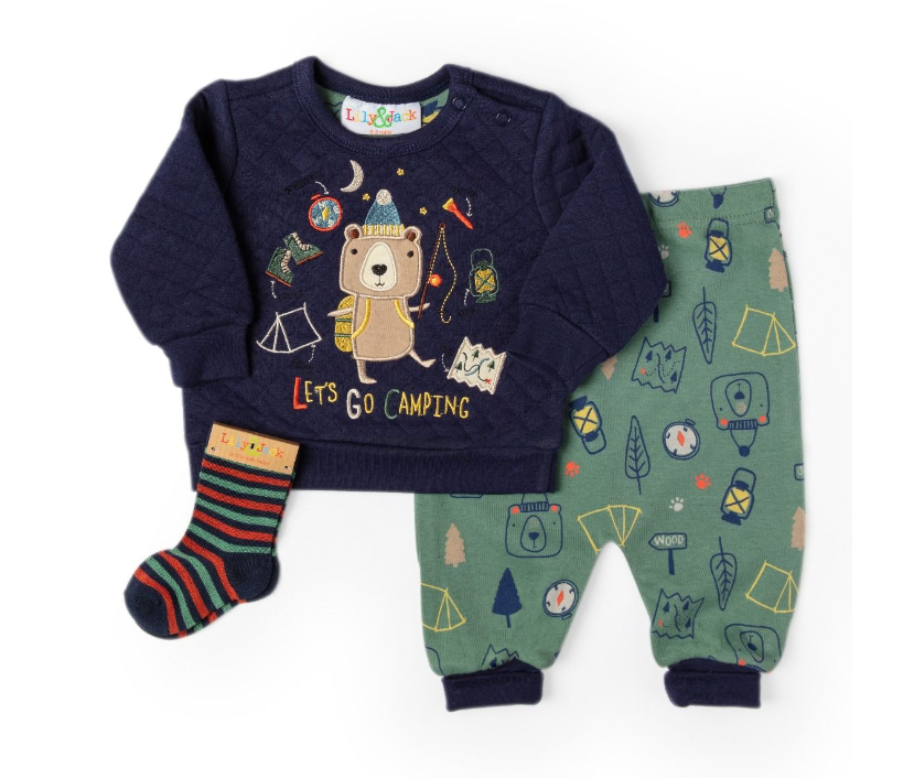 3pc Quilted Camping Bear Sweater Set