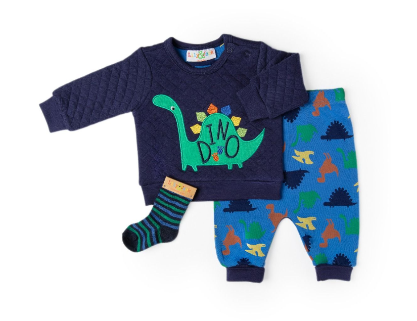 3pc Quilted Dino Sweater Set