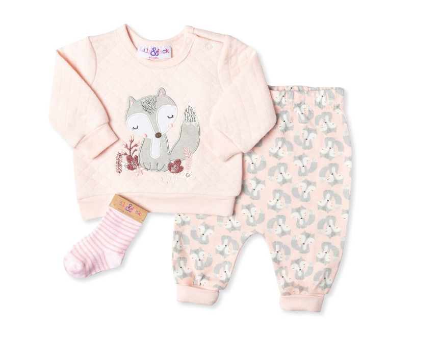 3pc Quilted Fox Sweater Set