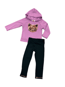 2pc Cat Sequin Hoodie Set