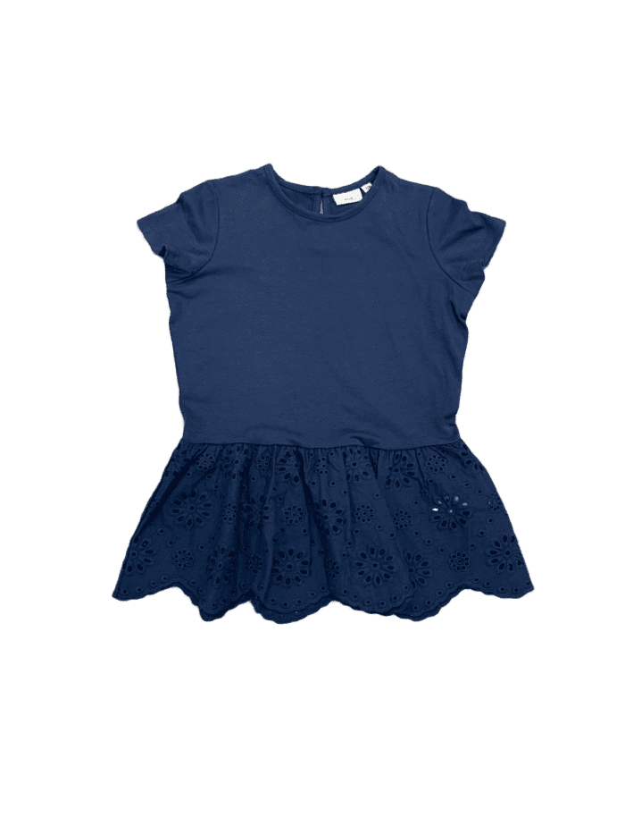 Eyelet Embroidered Navy Peblum Top