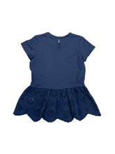Load image into Gallery viewer, Eyelet Embroidered Navy Peblum Top