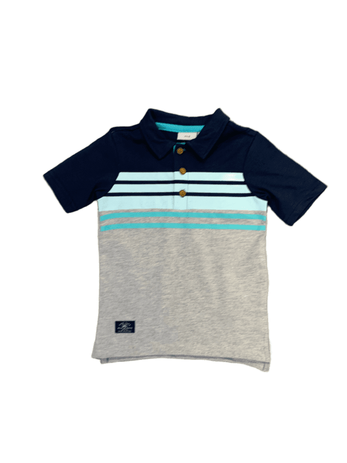 Navy & Grey Henley Polo Shirt
