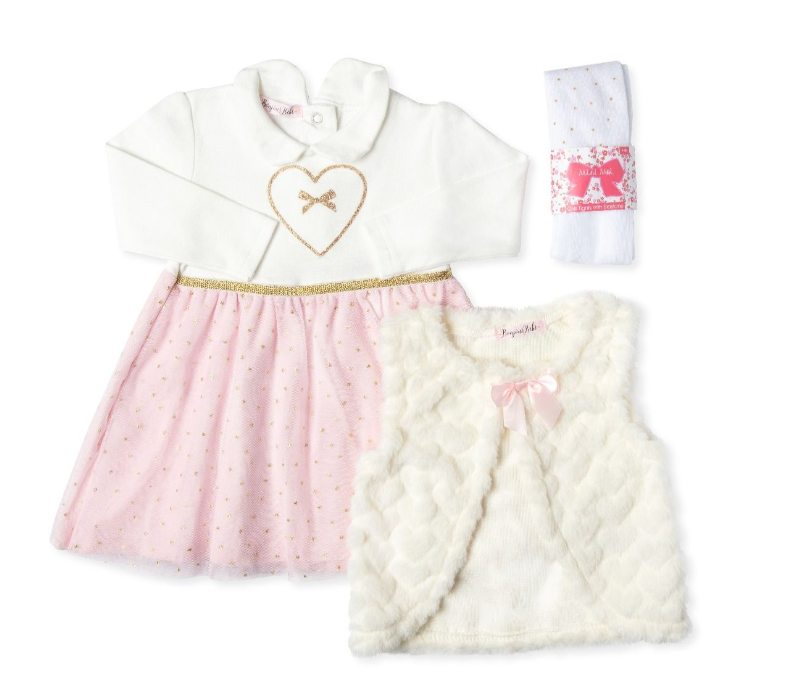 3pc Glitter Heart Dress W/ Glitter Tights & Fur Vest