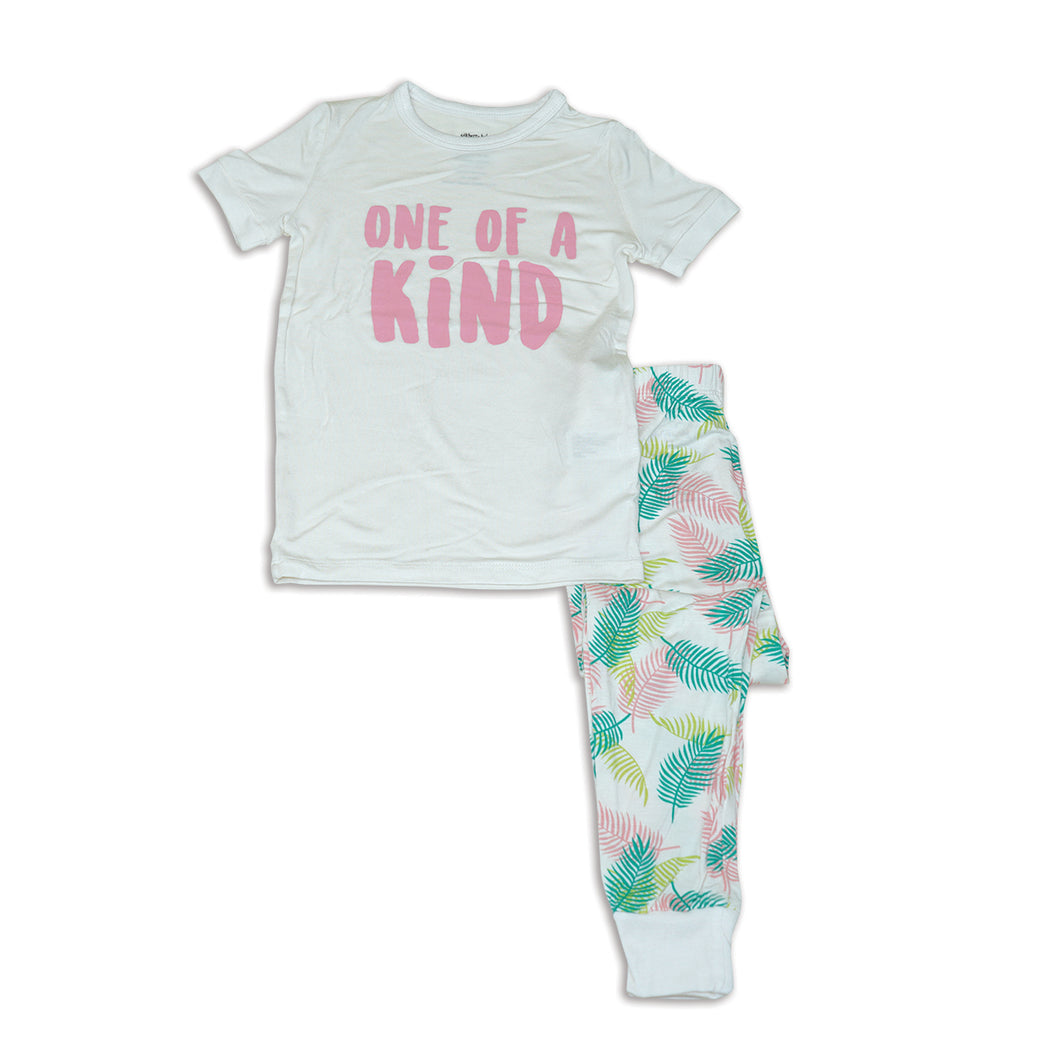 2pc Short Sleeve Pajama Set (Tropical Palm Print)