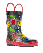 Load image into Gallery viewer, Toddler Monster Rain Boots Black