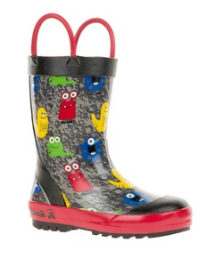 Toddler Monster Rain Boots Black
