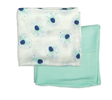 Load image into Gallery viewer, Bamboo Muslin Swaddle Blanket Gift Set (Elephant Print & Tropical Mint)