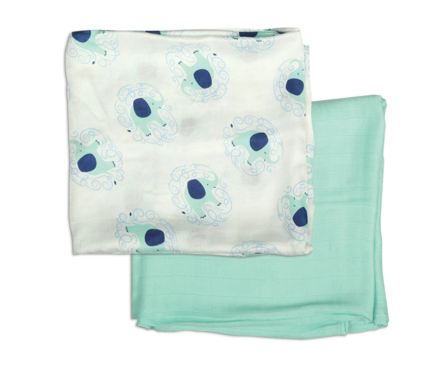 Bamboo Muslin Swaddle Blanket Gift Set (Elephant Print & Tropical Mint)