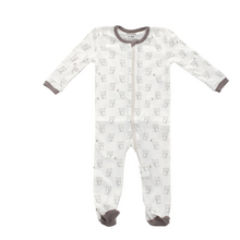 Load image into Gallery viewer, Organic Cotton LS Printed Footie (Silver Cloud Owl)