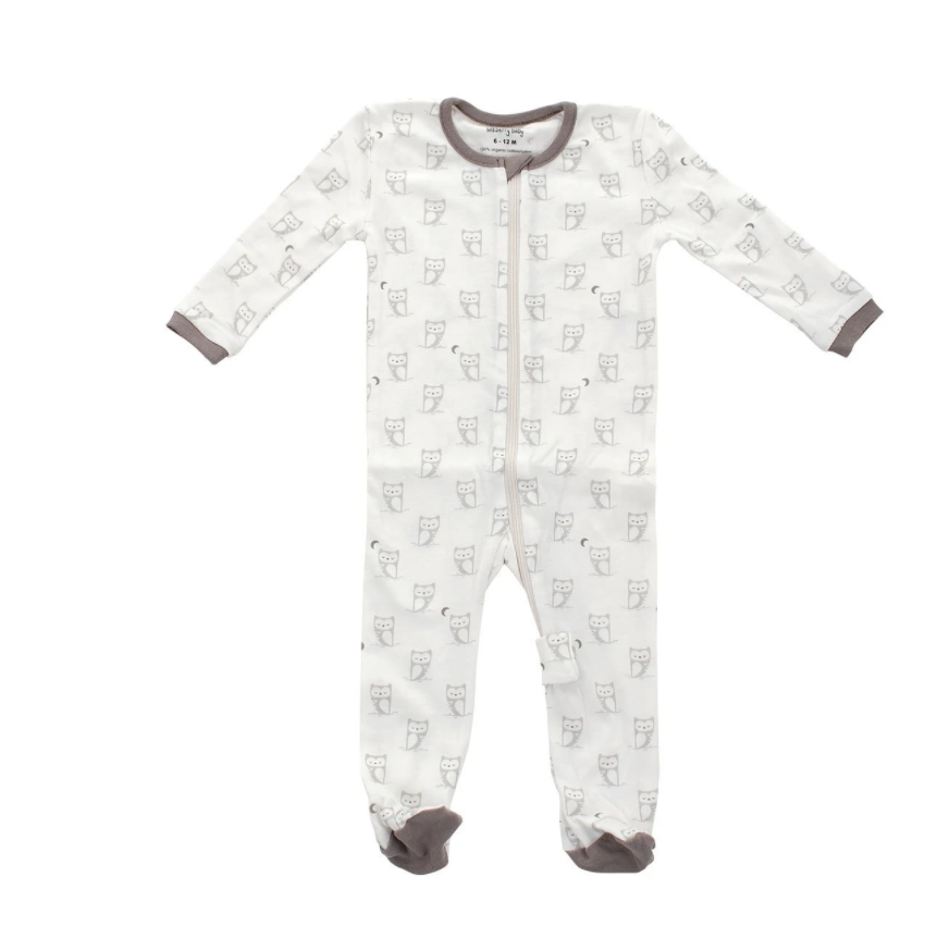 Organic Cotton LS Printed Footie (Silver Cloud Owl)