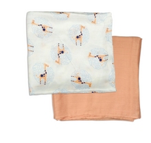 Load image into Gallery viewer, Bamboo Muslin Swaddle Blanket Gift Set (Giraffe Print & Peachy Keen)
