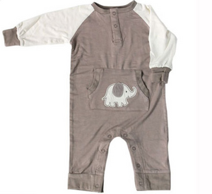 Silkberry Long Sleeve Romper w/ Kangaroo Pocket (Mocha/Elephant)