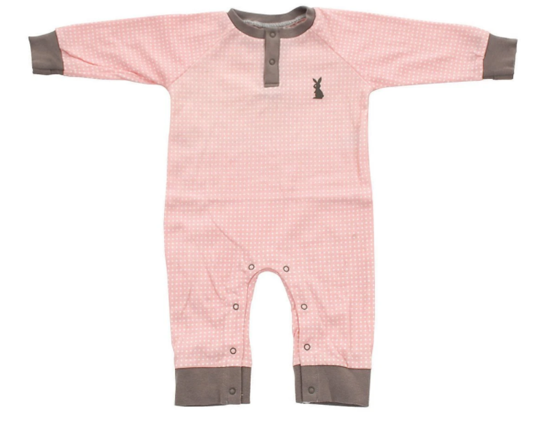 Organic Cotton Long Sleeve Romper (Blush Dot)