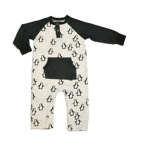 Bamboo Long Sleeve Romper (Penguin Waddle Print)