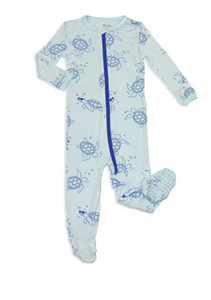 Bamboo Zip-up Footed Sleeper(Sea Turtle)