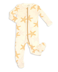 Bamboo Zip-up Footed Sleeper(Starfish)