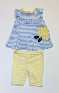 Yellow Daisy 2pc Capri Set
