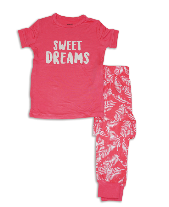 Silkberry Short Sleeve 2pc Pajama Set (Coral Crush/Breezy Leaves)
