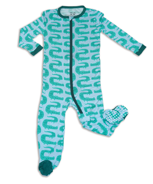 Silkberry Baby Bamboo Footed Sleeper with Zipper (Zic Zag Croc)