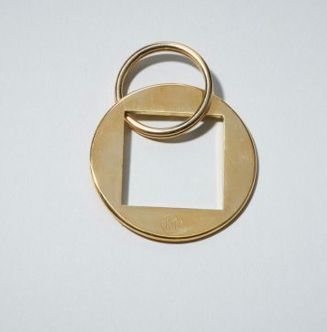 Monocle Brass Keyring Square