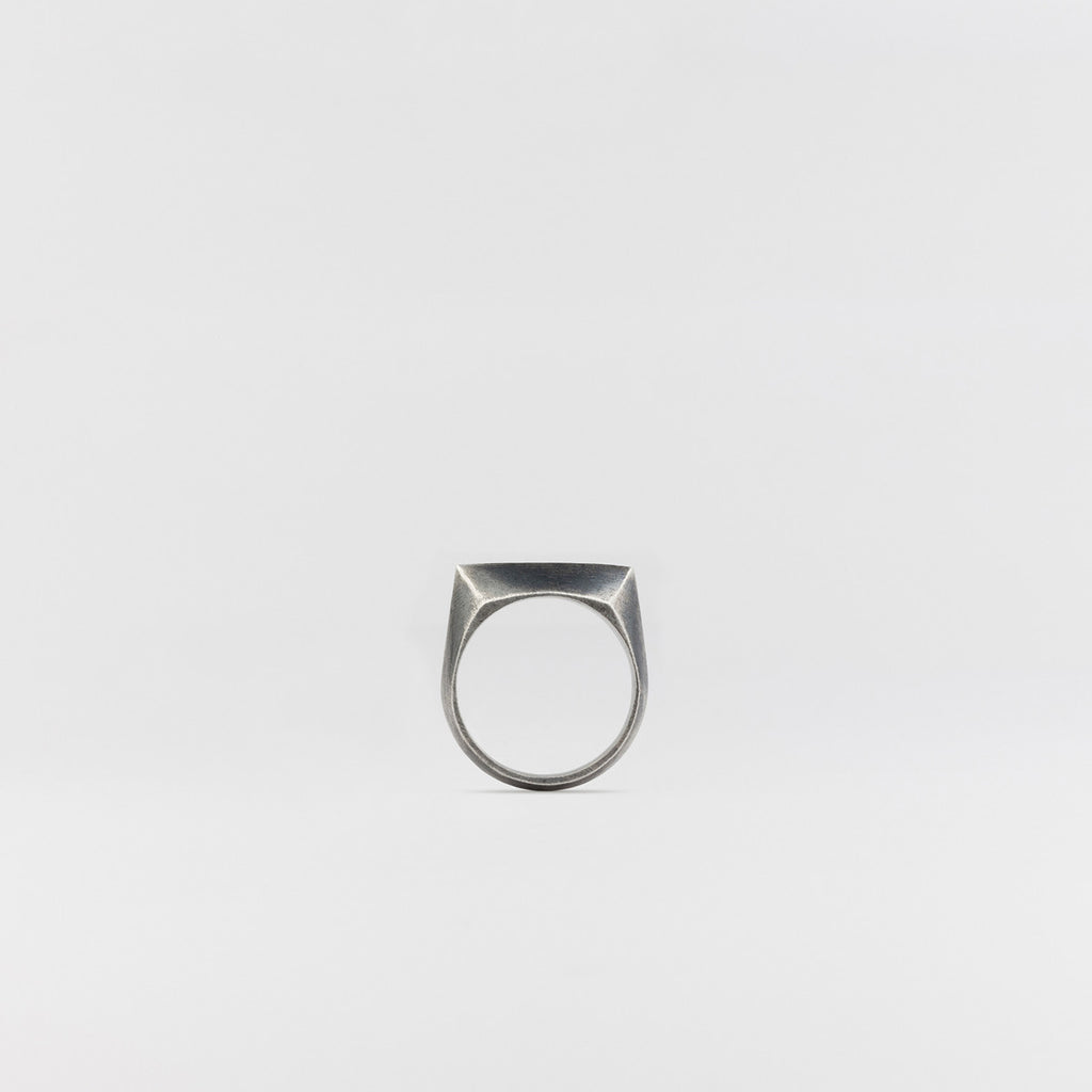 Flat Bevel Signet Ring Antique Silver