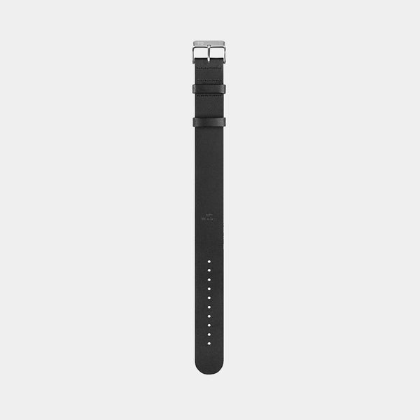 Black Leather Wristband w/ Steel Buckle