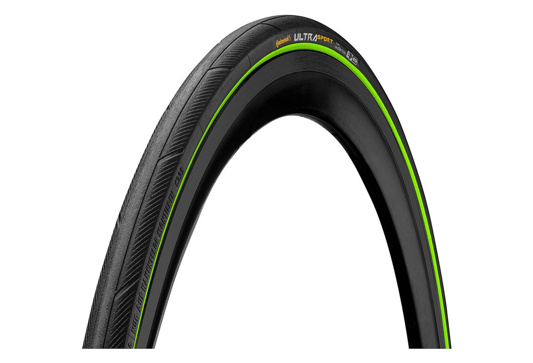 Pneu Route Continental Ultra Sport III 700 mm Tubetype Souple PureGrip Compound E-Bike 23 mm Noir / Vert