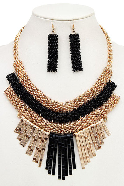 Fringe Necklace with Matching Earrings