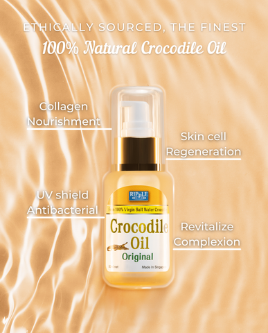 Benefits of crocodile oil: collagen nourishment, skin cell regeneration, uv protection shield, antibacterial, antimicrobial, revitalize complexion