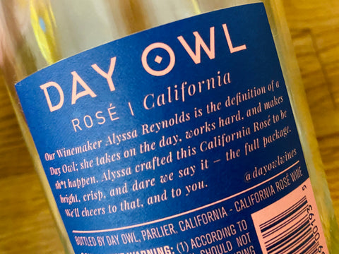 Day Owl Rosé Wine 2019 Back Label