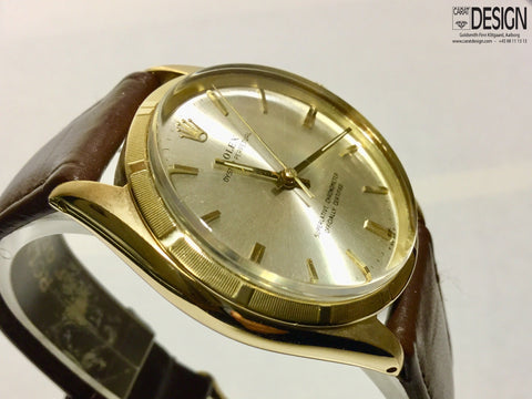 Rolex Oyster Perpetual 18K Gold 34mm Silver Dial Watch - Ref 1005