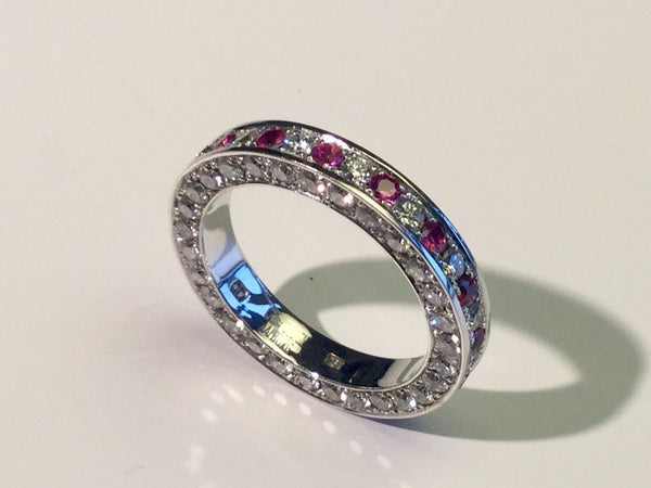 White Gold Ring with Diamonds and Pink Sapphires